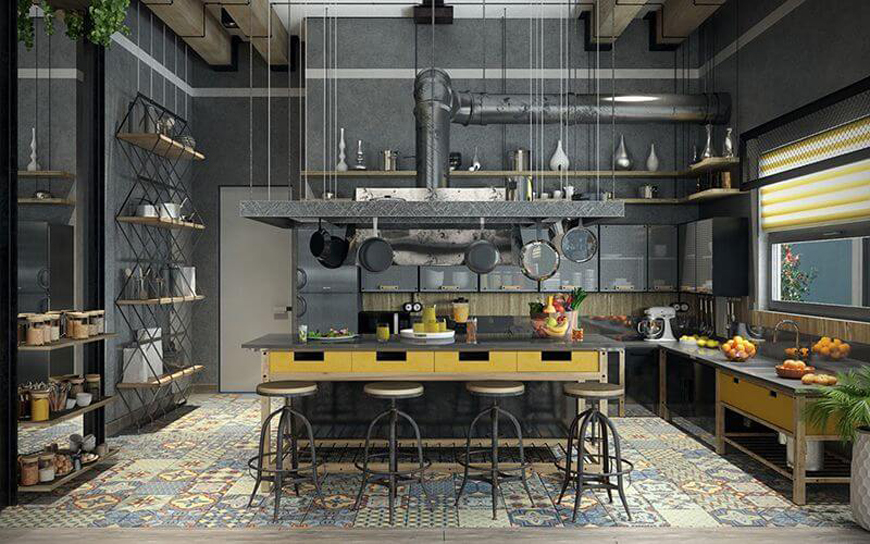 Industrial kitchen decoration 1 - دکوراسیون به سبک صنعتی