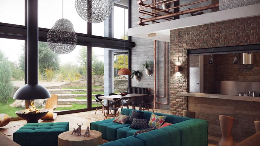 Industrial living room design - دکوراسیون به سبک صنعتی