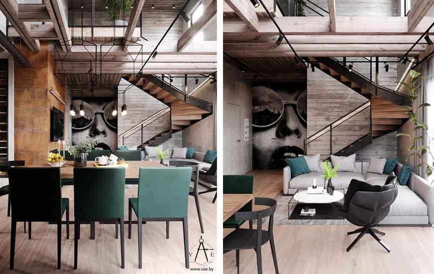 dining room Industrial - دکوراسیون به سبک صنعتی