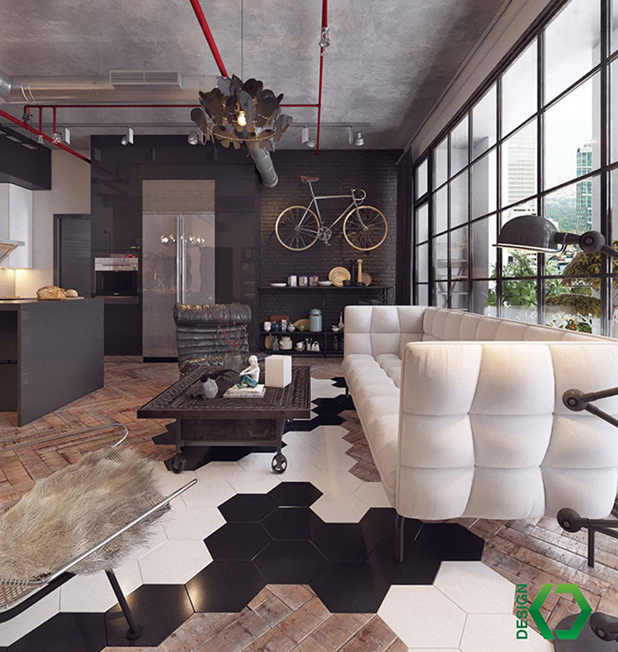 vintage industrial living room wall accents - دکوراسیون به سبک صنعتی
