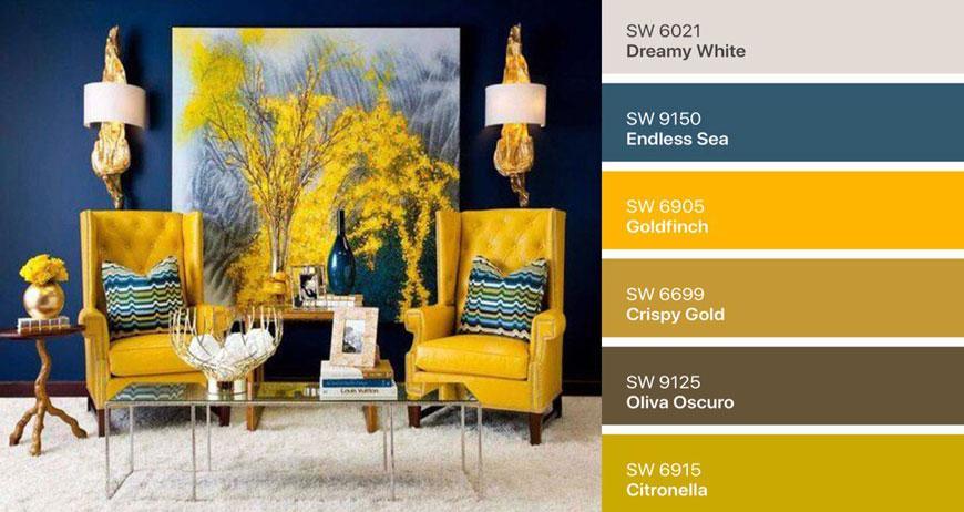 ترکیب رنگ زرد و آبی