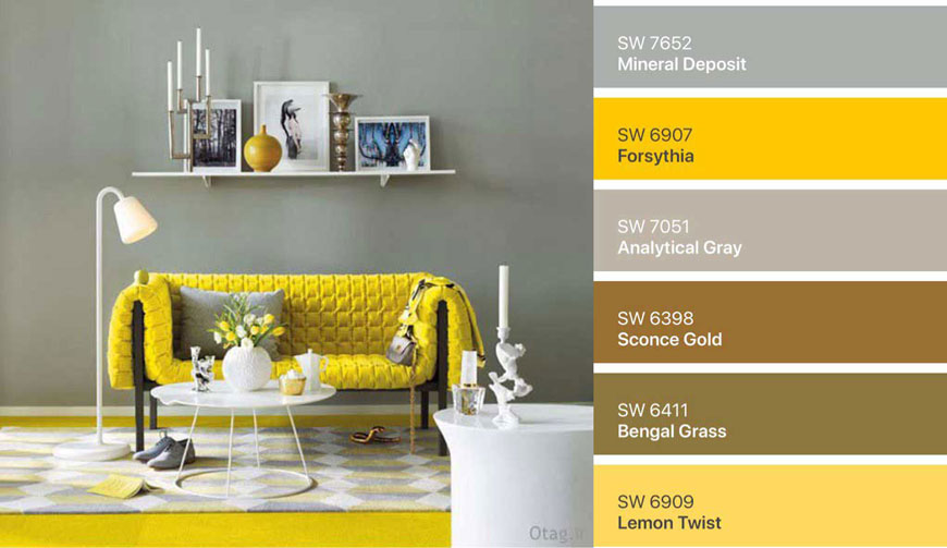 combine yellow and gray0 - ۷ پالت رنگ زرد در دکوراسیون