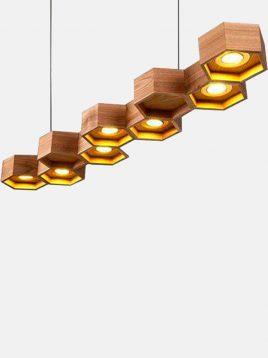 چراغ آویز سقفی چوبی طرح کندو مدل A102 آرتا