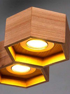چراغ آویز چوبی طرح کندو مدل A103 آرتا