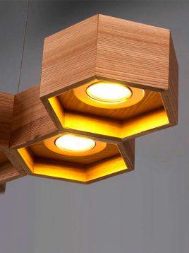 چراغ آویز چوبی طرح کندو مدل A105 آرتا