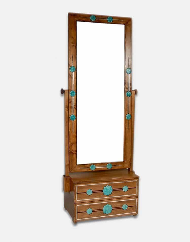 آینه ایستاده چوبی دو کشو شمس