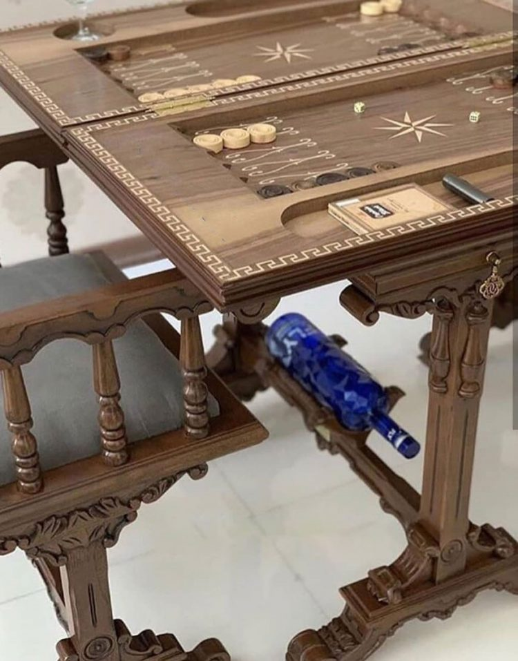 ست میز و صندلی تخته نرد و شطرنج
