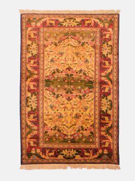 قالیچه ابریشمی شکارگاه دکو فرش