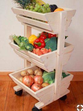 سبد میوه سه طبقه چوبی