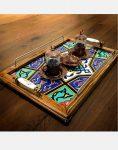 سینی چایی چوبی کاشیکاری هندسی