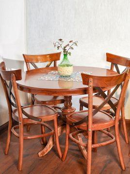 میز و صندلی ناهار خوری گرد ۴ نفره هندسی