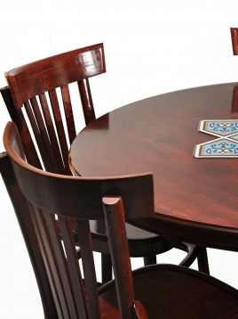 میز گرد ناهار خوری چوبی پنج نفره هندسی