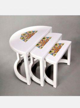 hendesi side table three piece Semicircular 1 268x358 - میز عسلی سه تکه نیم دایره هندسی
