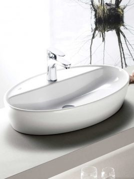Cerastyle Drop In Sinks One model ellipse with faucet hole 2 268x358 - کاسه روشویی مدل وان بیضی با محل نصب شیر