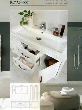 Lotus Bathroom vanities Royal 1000 model2 268x358 - ست روشویی کابینت و آینه حمام مدل مدرن رویال۱۰۰۰