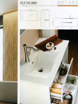 Lotus Bathroom vanities Sezar 900 model2 268x358 - ست روشویی کابینت و آینه حمام مدل سزار۹۰۰
