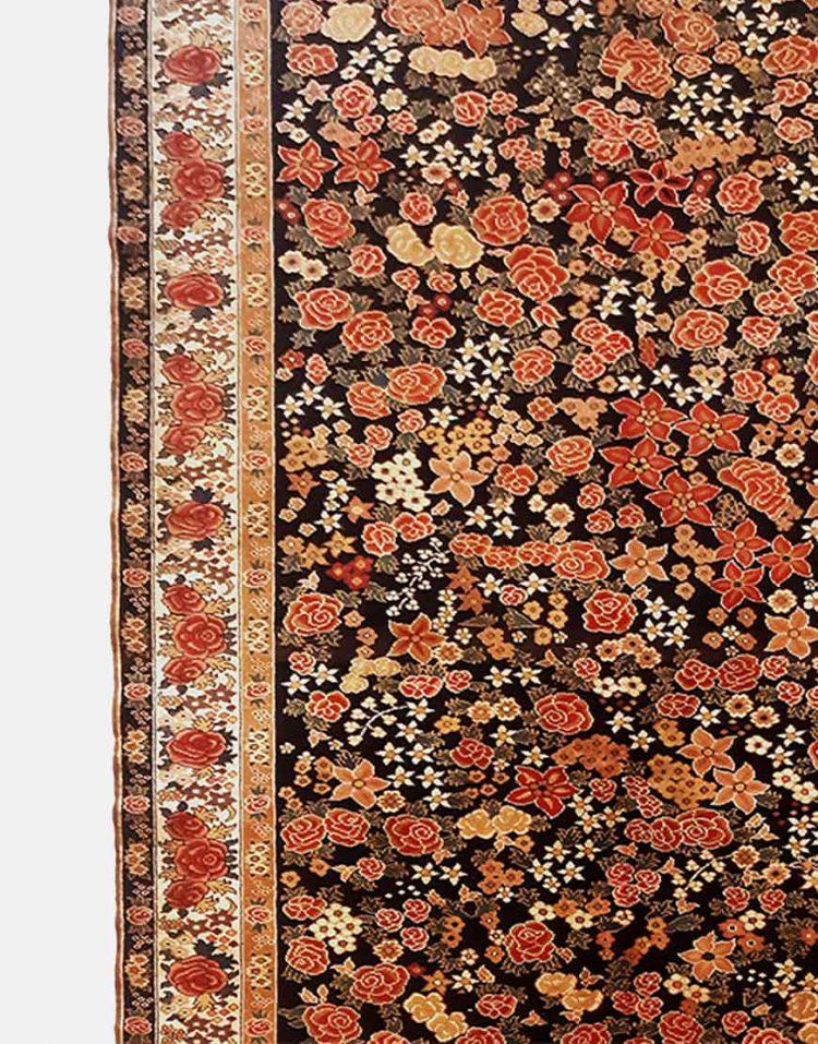 قالیچه گل فرنگ سورمه ای دکو فرش