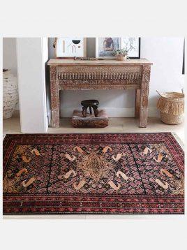 قالیچه دستبافت گل ابریشم سنگان دکو فرش