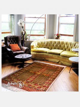 قالیچه تمام ابریشم طرح ترکمن دکو فرش