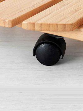 ikea wheeler wood bambo saucer 1 268x358 - زیر گلدانی چوب بامبو چرخدار ایکیا