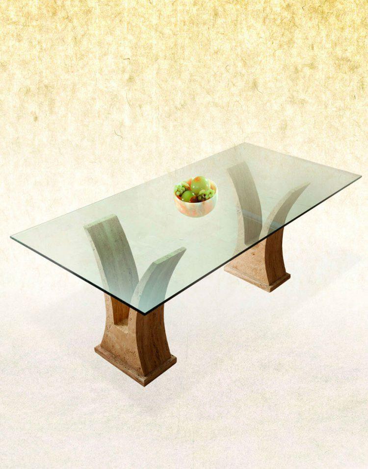 میز ناهار خوری پایه سنگی آژیانه کد هشت