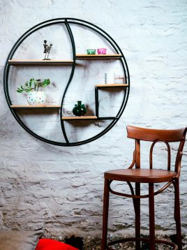 sunhome circle shelf code1405 1 268x358 - قفسه کتاب دیواری ساده مدل W1404
