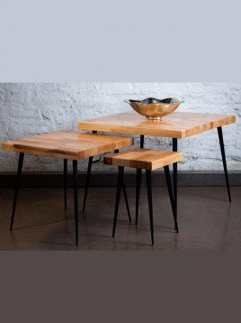 میز عسلی چوب و فلز مدل W8060