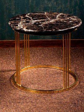 میز کنار مبلی و عسلی سنگی گرد مدل W0056