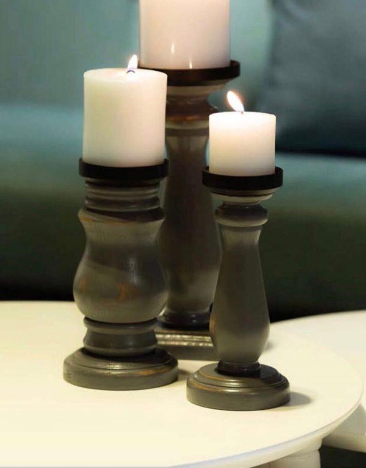 sunhome Candlestick model W5014 1 750x957 - جاشمعی چوبی مشکی مدل W5014