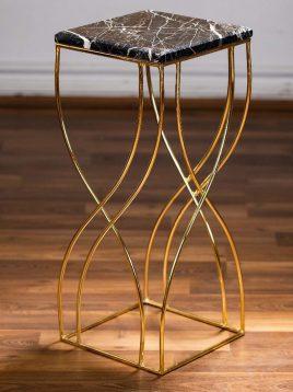 میز کنار مبلی فلزی سنگی پایه بلند مدل W2628