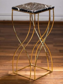 sunhome coffee table model w2628 1 268x358 - میز کنار مبلی فلزی سنگی پایه بلند مدل W2628