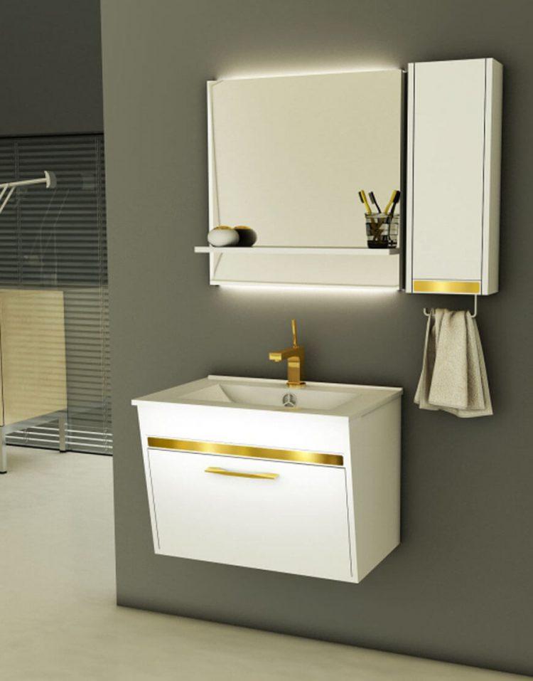 ست روشویی کابینت ورتا و آینه مدل فلورا