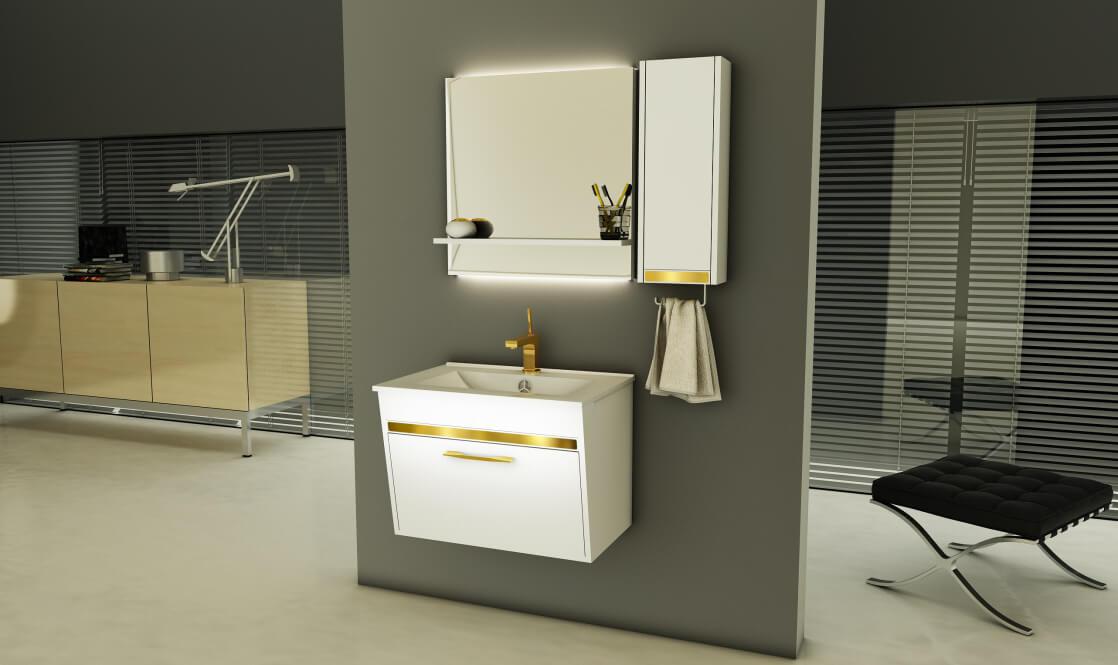 Verta Bathroom Vanities Flora0 - ست روشویی کابینت ورتا و آینه مدل فلورا