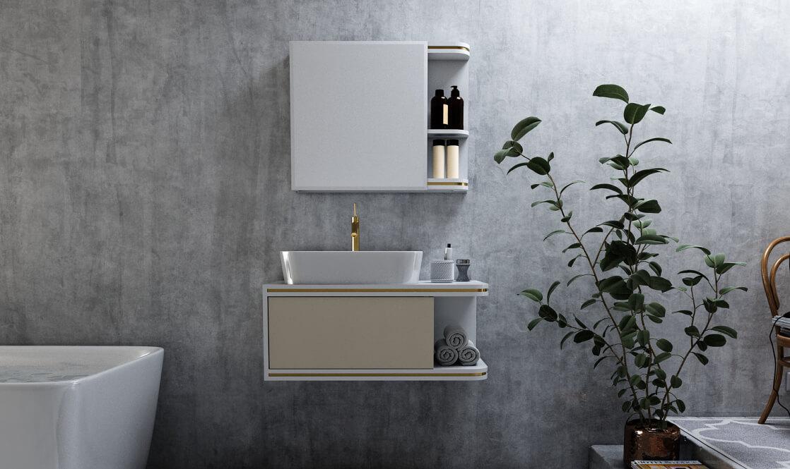 Verta Bathroom Vanities Romano0 - ست روشویی کابینت ورتا و آینه مدل رومانو