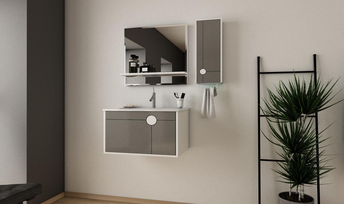 Verta Bathroom Vanities Vector0 - ست روشویی کابینت ورتا و آینه مدل وکتور