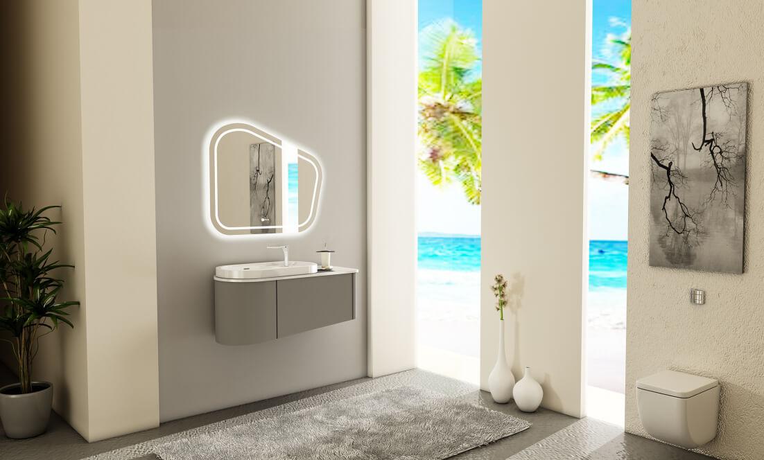 Verta Bathroom Vanities Zinnia0 - ست روشویی کابینت ورتا و آینه مدل زینیا