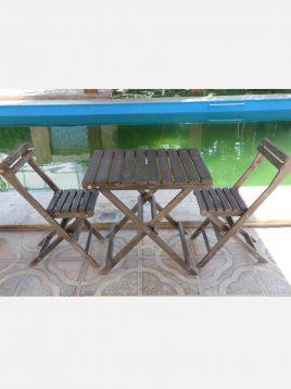 ست صندلی و میز چوبی دو نفره مدل نوژن