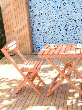 ست میز و صندلی چهار نفره چوبی مدل نوژن