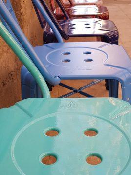 صندلی فلزی ناهارخوری نهالسان طرح برگ مدل نوید