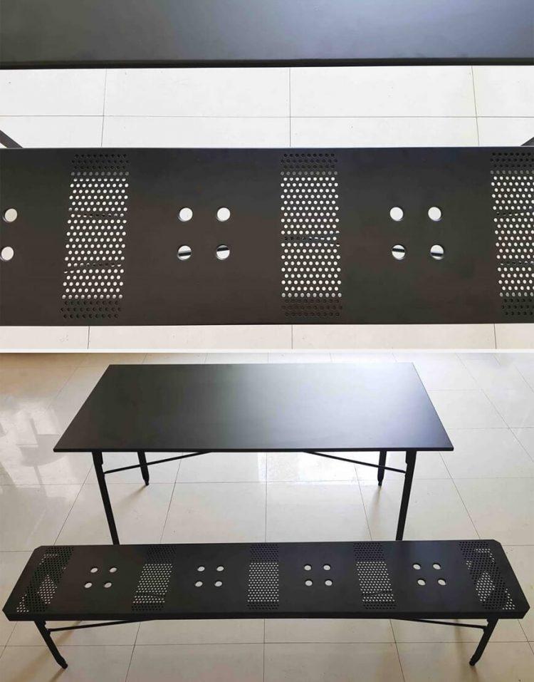 nahalsan triple metal bench 9 750x957 - نیمکت بدون پشتی فلزی سه نفره