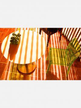 میز گرد شیشهای صنایع نظری پایه چدنی