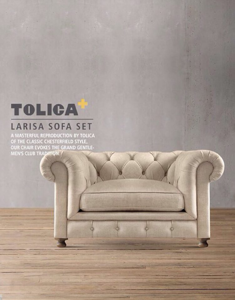 مبل راحتی کلاسیک یک نفره تولیکا مدل لاریسا
