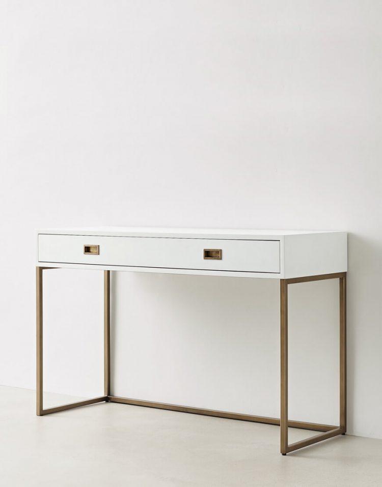 میز آرایش سفید طلایی تولیکا مدل چیلان