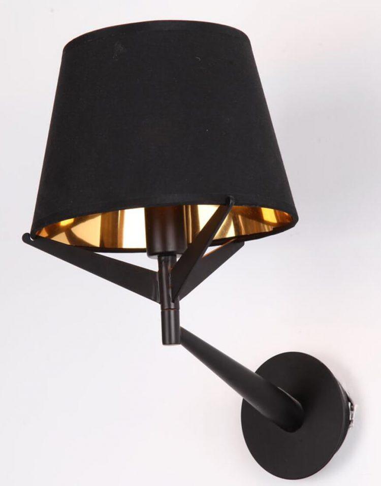 چراغ دیواری ثابت مشکی طلایی مدل BEW1109-1