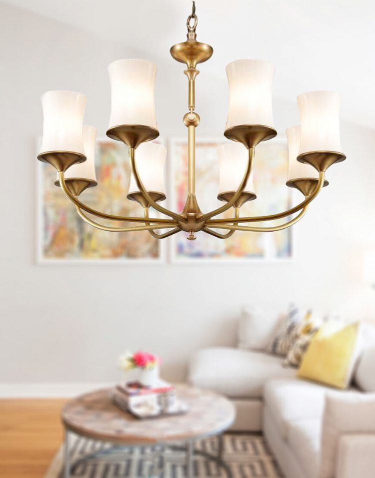 voodoohome gold and white shaded Chandeliers model BR20118 1 750x957 - لوستر مدرن سفید طلایی مدل BR2011/8