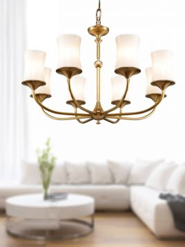 voodoohome gold and white shaded Chandeliers model BR20118 2 268x358 - لوستر مدرن سفید طلایی مدل BR2011/8