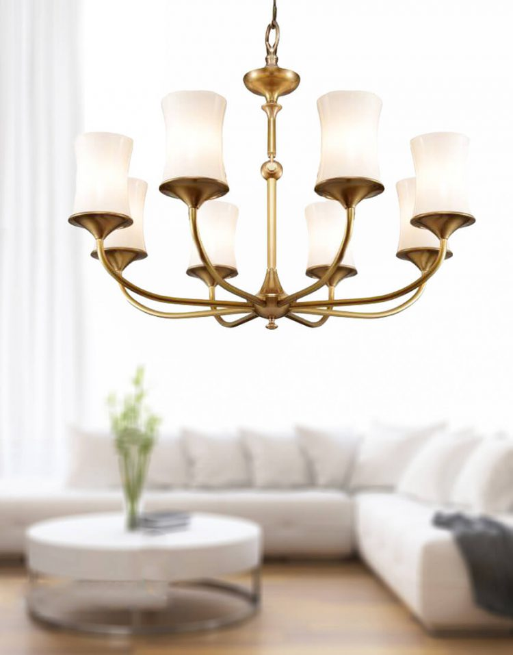 voodoohome gold and white shaded Chandeliers model BR20118 2 750x957 - لوستر مدرن سفید طلایی مدل BR2011/8