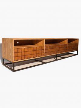 میز تلویزیون چوب طبیعی با پایه فلزی مشکی کد VW106