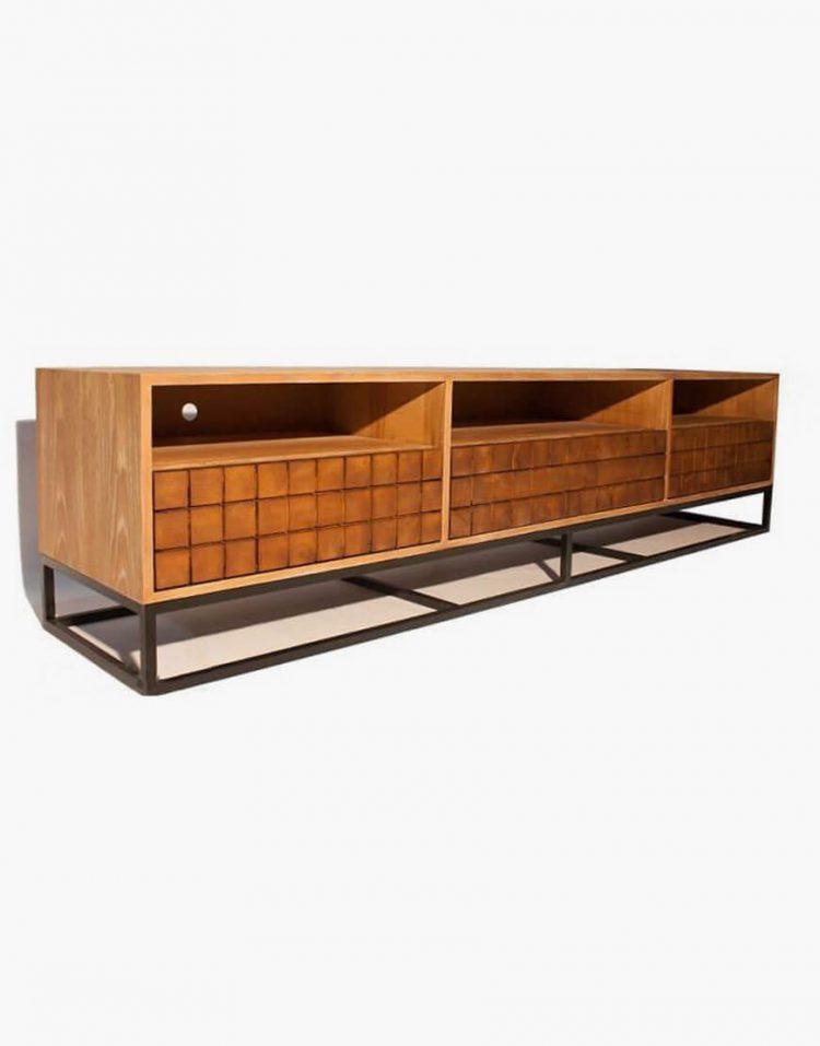 voodoohome wooden tv table code VW106 2 750x957 - میز تلویزیون چوب طبیعی با پایه فلزی مشکی کد VW106