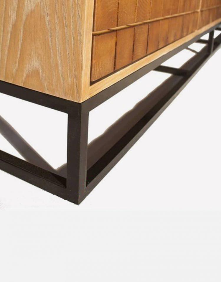 voodoohome wooden tv table code VW106 3 750x957 - میز تلویزیون چوب طبیعی با پایه فلزی مشکی کد VW106